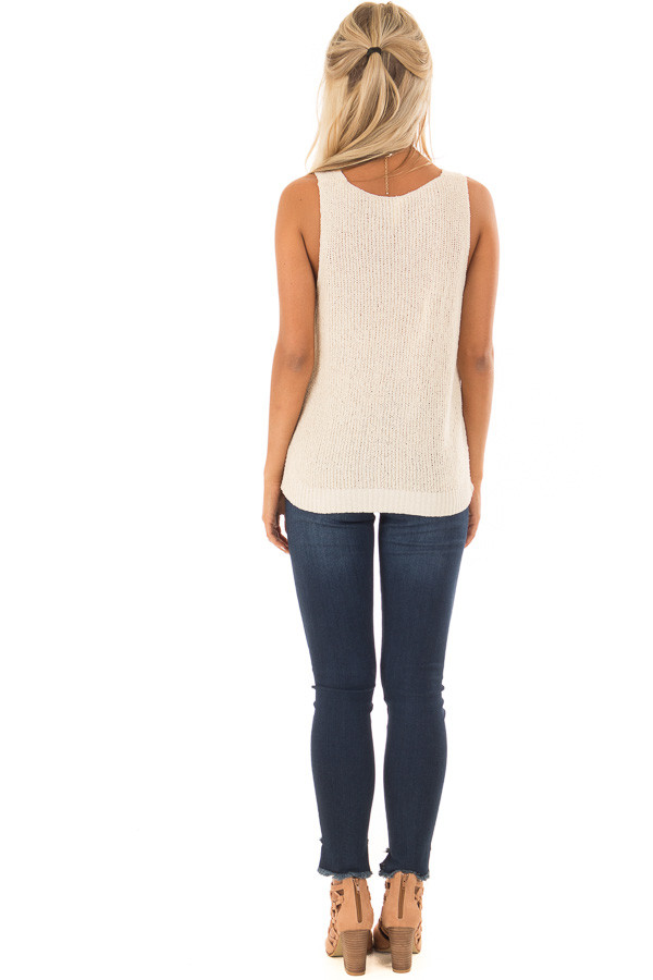 Cream Textured Knit Tank Top with Front Twist Detail back full body