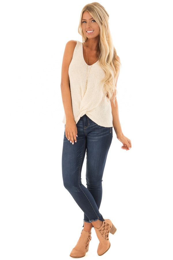 Cream Textured Knit Tank Top with Front Twist Detail front full body