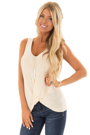 Cream Textured Knit Tank Top with Front Twist Detail front close up