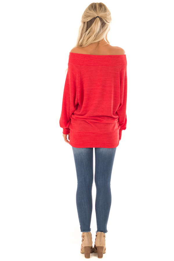Crimson Off the Shoulder Tunic Top with Long Sleeves back full body
