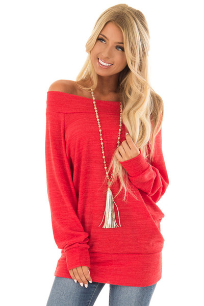 Crimson Off the Shoulder Tunic Top with Long Sleeves front close up