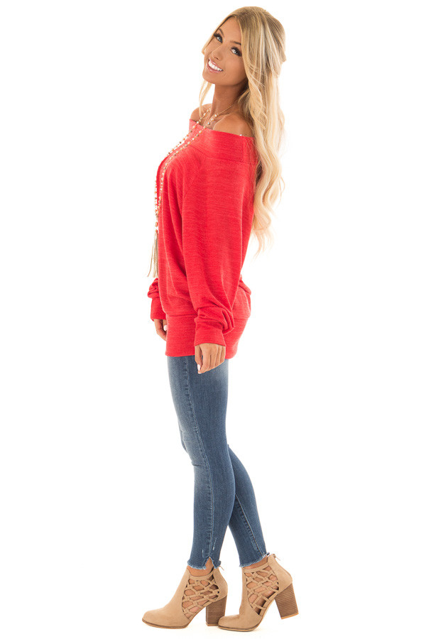 Crimson Off the Shoulder Tunic Top with Long Sleeves side full body
