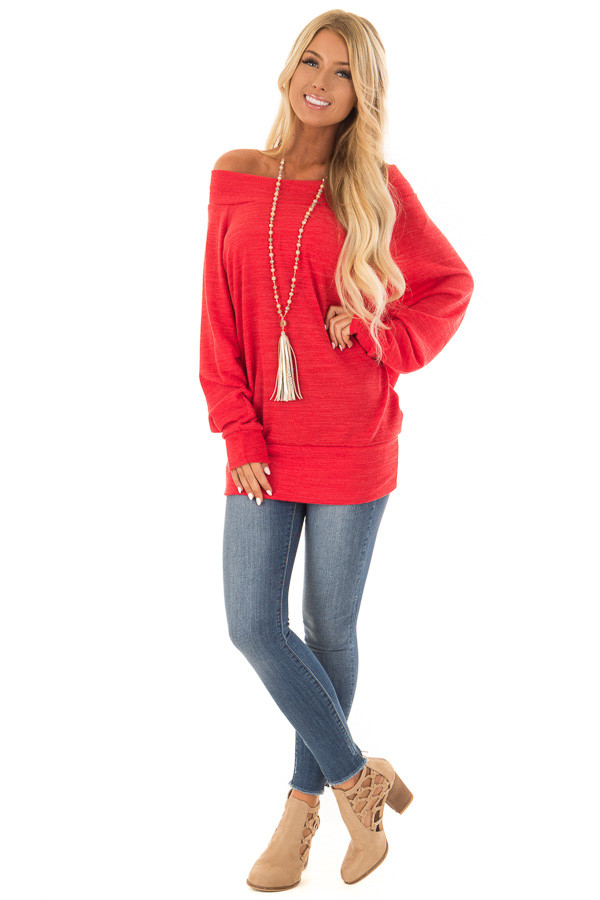Crimson Off the Shoulder Tunic Top with Long Sleeves front full body
