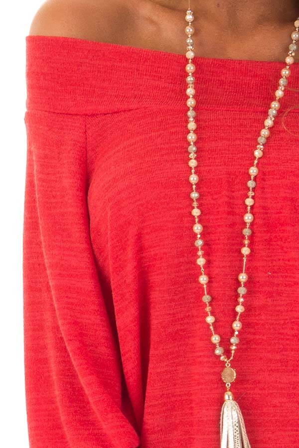 Crimson Off the Shoulder Tunic Top with Long Sleeves detail