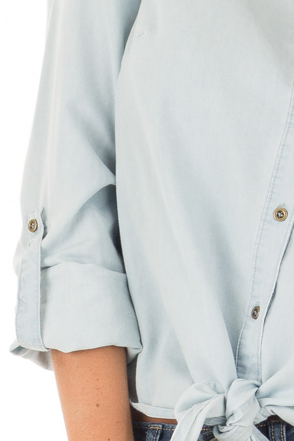 Light Wash Denim Button Up Shirt with Front Tie Detail detail
