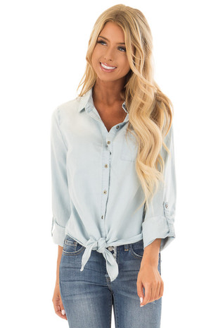 Light Wash Denim Button Up Shirt with Front Tie Detail front close up