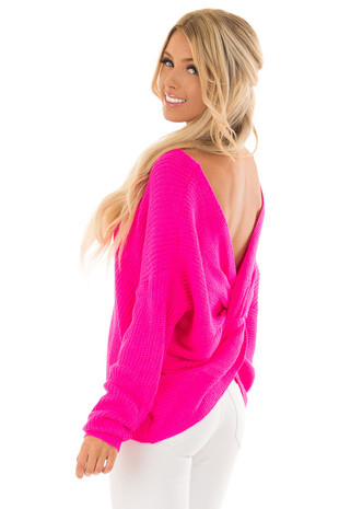 Neon Fuchsia Knit Sweater with Open Twist Back back side close up