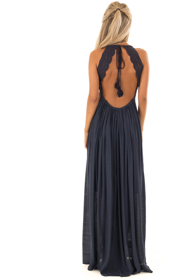 Navy Sleeveless Open Back Maxi Dress with Lace Accents back full body
