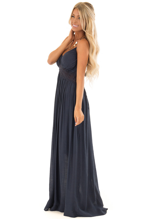 Navy Sleeveless Open Back Maxi Dress with Lace Accents front full body