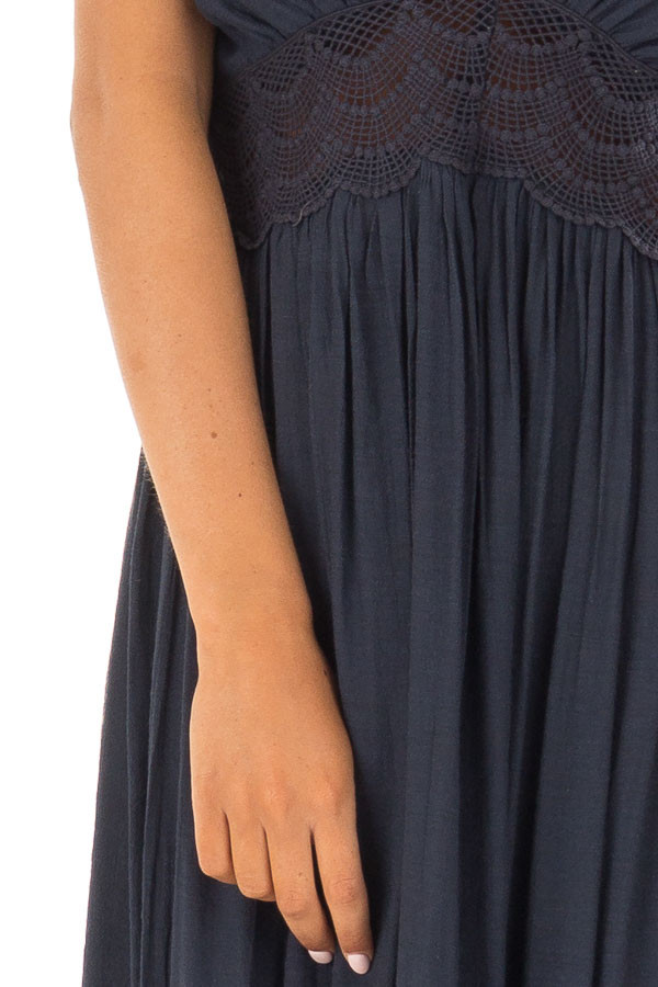 Navy Sleeveless Open Back Maxi Dress with Lace Accents detail