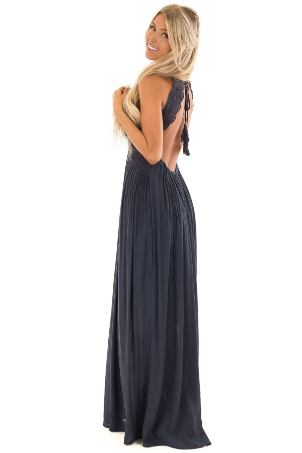 Navy Sleeveless Open Back Maxi Dress with Lace Accents side full body