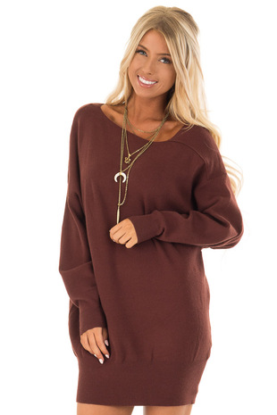Red Bean Long Sleeve Cold Shoulder Dress with Banded Hem front close up