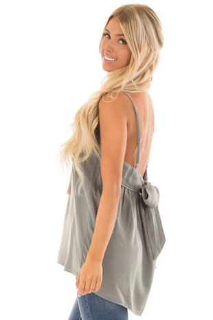 Sage Spaghetti Strap Tank Top with Bow Detail in Back back side close up