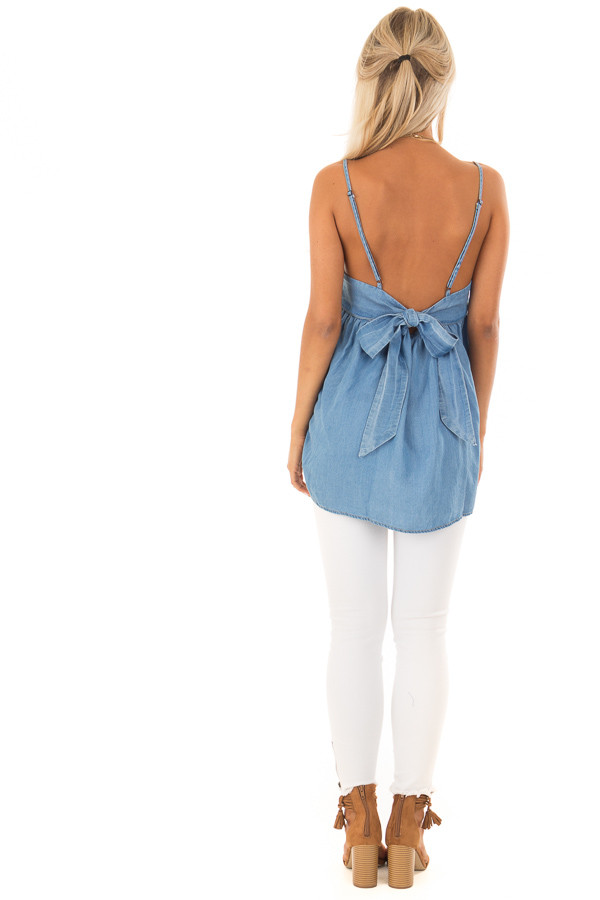 Denim Spaghetti Strap Tank Top with Bow Detail in Back back full body