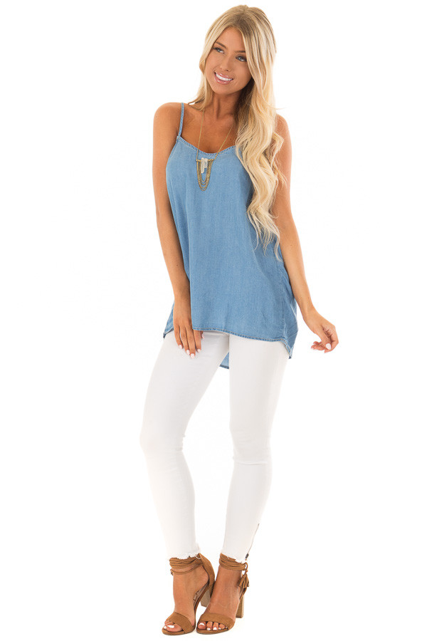 Denim Spaghetti Strap Tank Top with Bow Detail in Back front full body