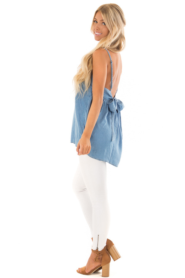 Denim Spaghetti Strap Tank Top with Bow Detail in Back back side full body