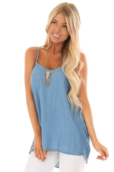 Denim Spaghetti Strap Tank Top with Bow Detail in Back front close up