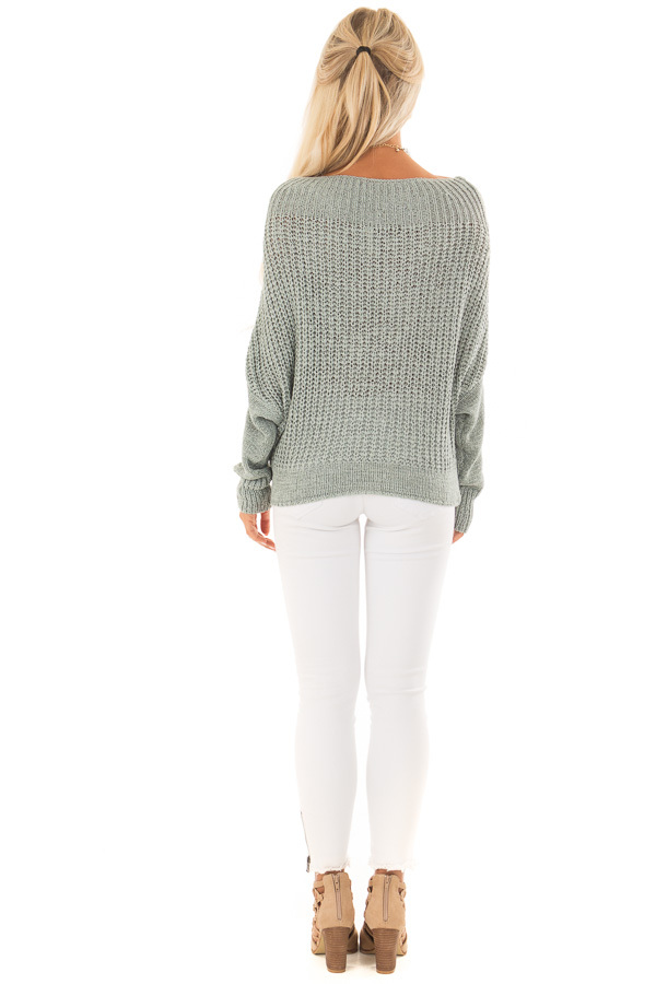 Mint Ribbon Knit Sweater with Long Tapered Batwing Sleeve back full body