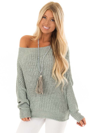 Mint Ribbon Knit Sweater with Long Tapered Batwing Sleeve front close up