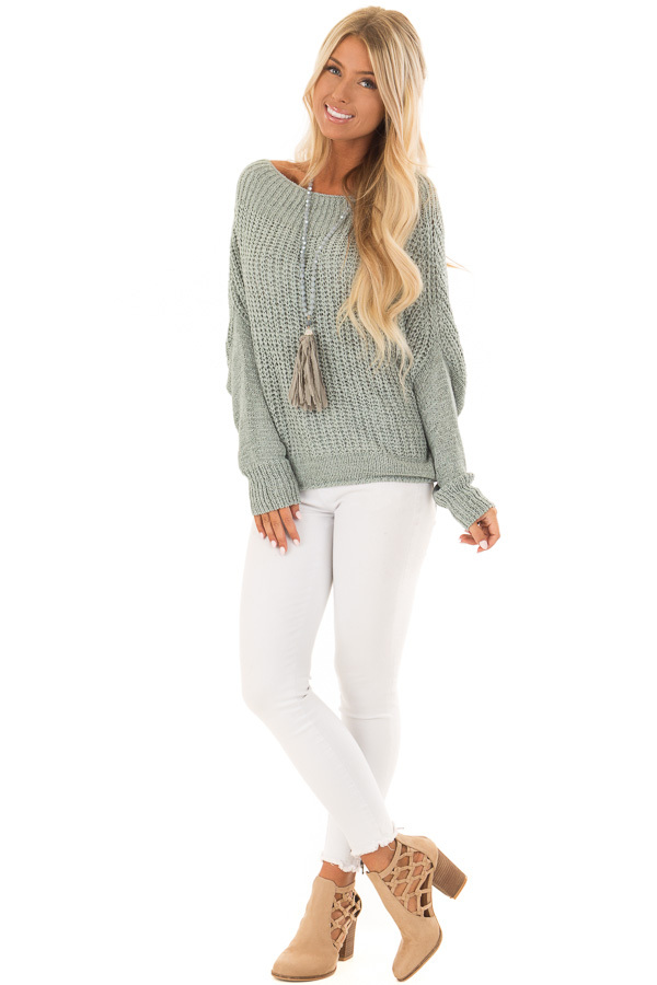 Mint Ribbon Knit Sweater with Long Tapered Batwing Sleeve front full body