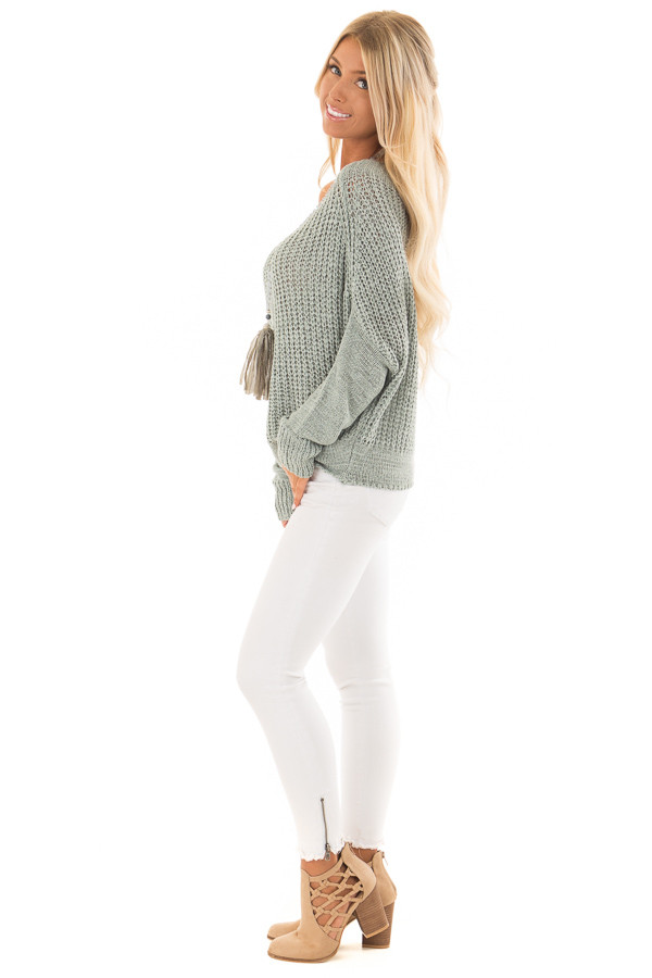 Mint Ribbon Knit Sweater with Long Tapered Batwing Sleeve SIDE full body
