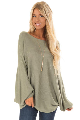 Olive Lightweight Sweater with Dolman Sleeves front close up