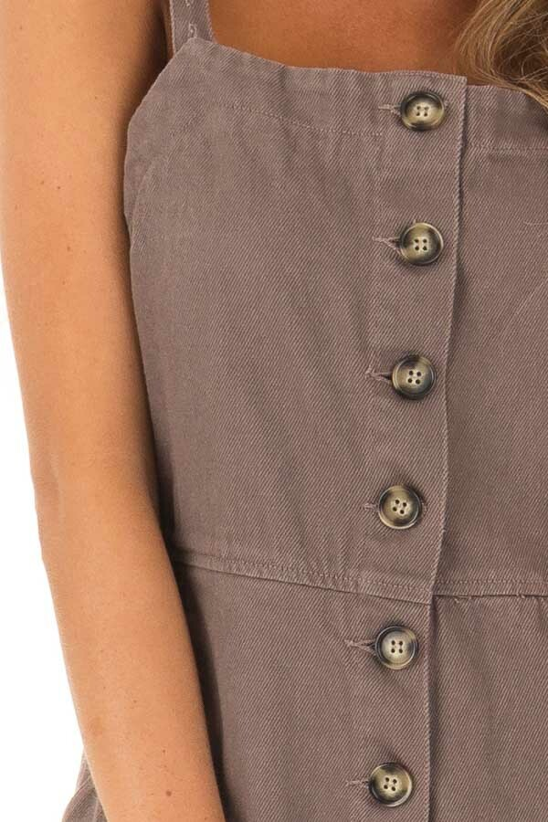 Cocoa Button Up Capri Length Jumpsuit with Side Pockets detail