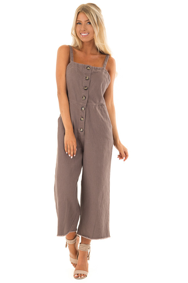 Cocoa Button Up Capri Length Jumpsuit with Side Pockets front full body