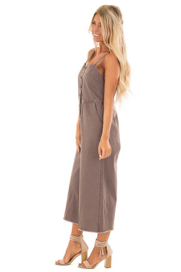 Cocoa Button Up Capri Length Jumpsuit with Side Pockets side full body