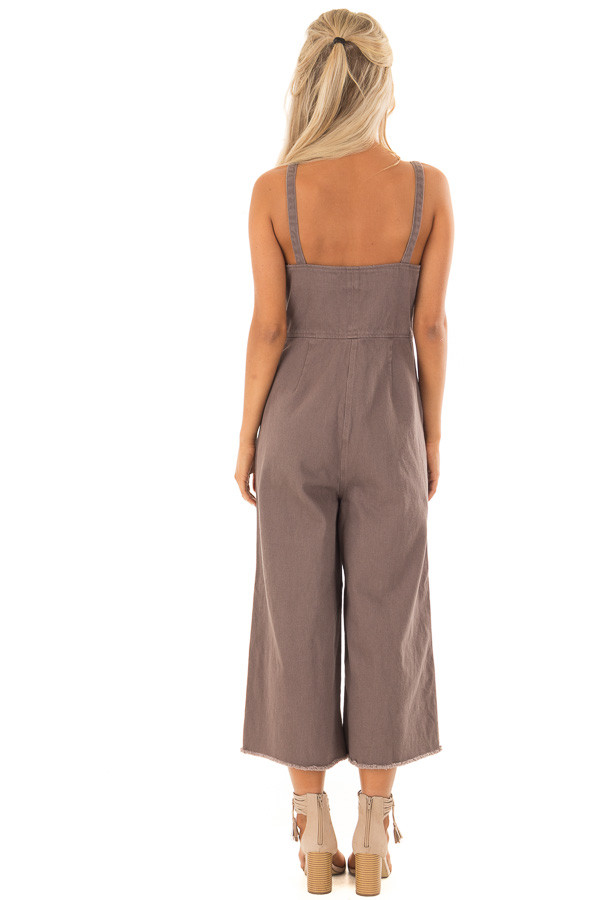 Cocoa Button Up Capri Length Jumpsuit with Side Pockets back full body