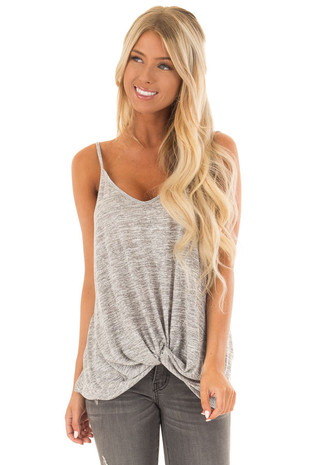 Heather Grey Tank Top With Bottom Twist front close up