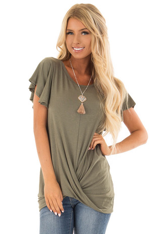 Olive Short Sleeve Top with Front Twist Detail front close up
