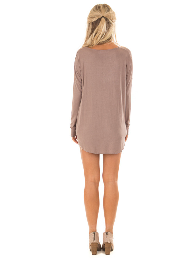 Cocoa Drop Shoulder Long Sleeve Surplice Top back full body