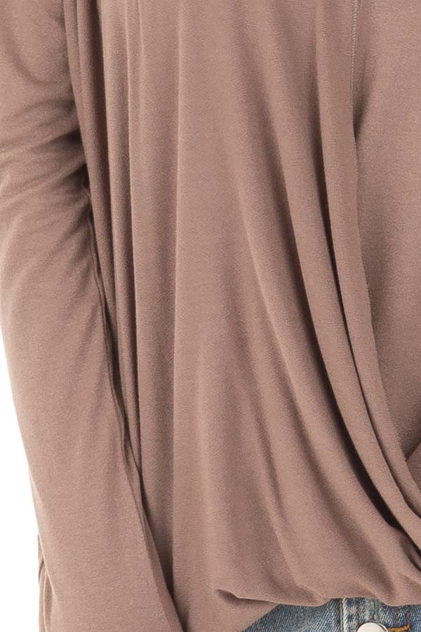 Cocoa Drop Shoulder Long Sleeve Surplice Top detail