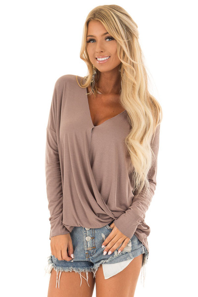 Cocoa Drop Shoulder Long Sleeve Surplice Top front close up