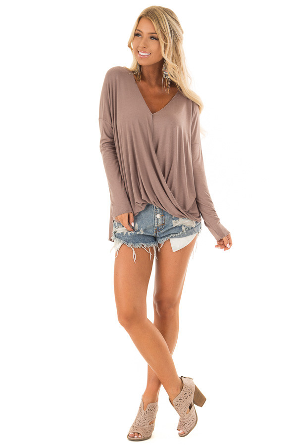 Cocoa Drop Shoulder Long Sleeve Surplice Top front full body