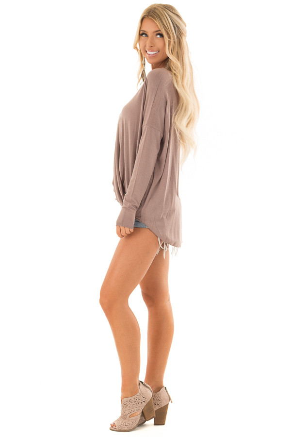 Cocoa Drop Shoulder Long Sleeve Surplice Top side full body