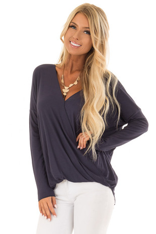 Midnight Blue Drop Shoulder Long Sleeve Surplice Top front close up