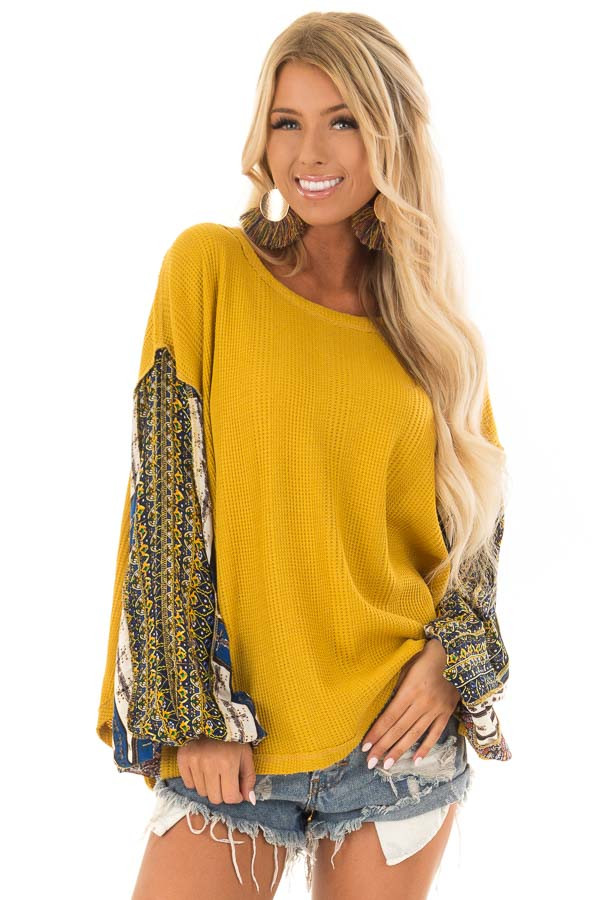 Mustard Waffle Knit Top with Long Printed Sleeves front close up