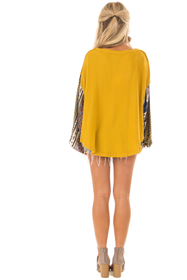 Mustard Waffle Knit Top with Long Printed Sleeves back full body