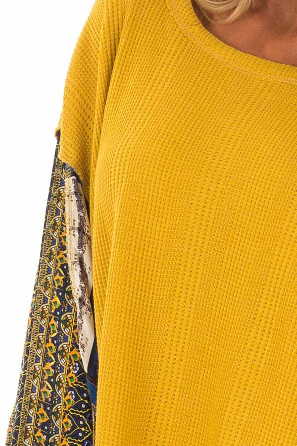 Mustard Waffle Knit Top with Long Printed Sleeves detail