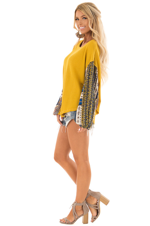 Mustard Waffle Knit Top with Long Printed Sleeves side full body