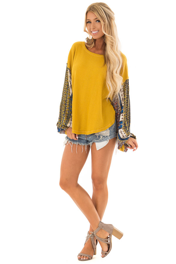 Mustard Waffle Knit Top with Long Printed Sleeves front full body