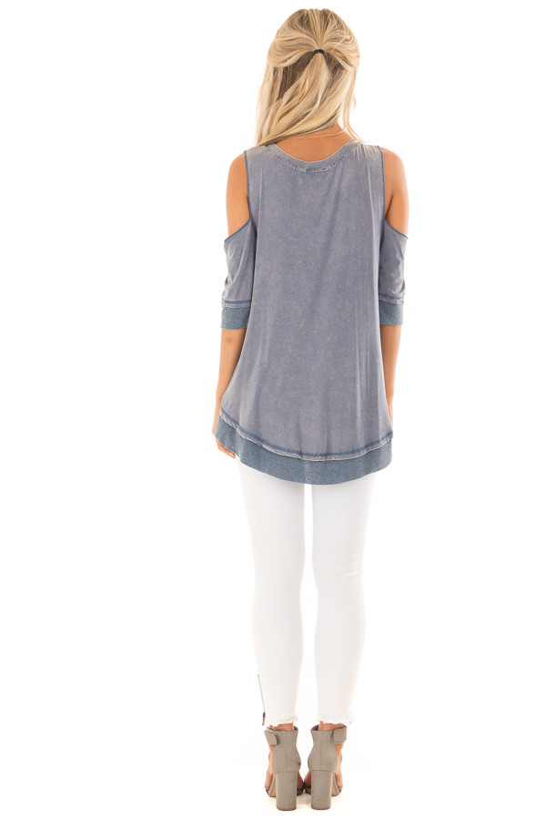 Aegean Acid Washed Cold Shoulder Tunic back full body