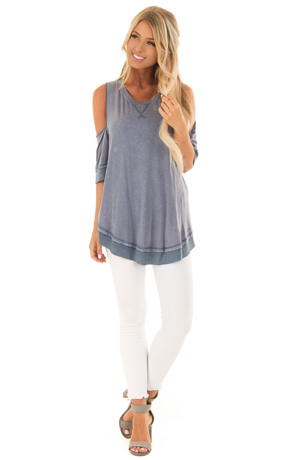 Aegean Acid Washed Cold Shoulder Tunic front full body