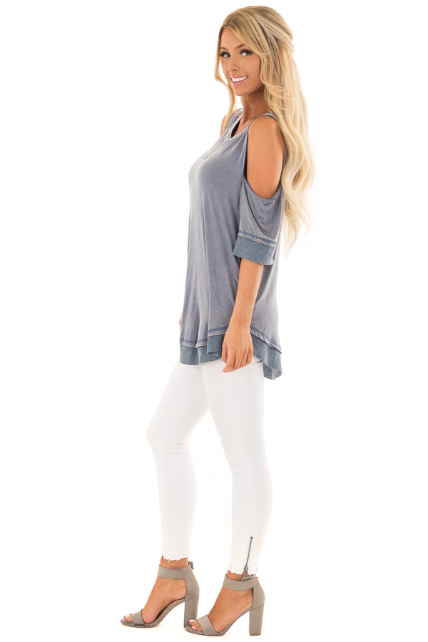 Aegean Acid Washed Cold Shoulder Tunic side full body