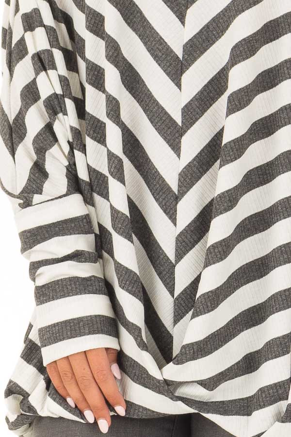 Charcoal and White Striped Ribbed Off the Shoulder Top detail