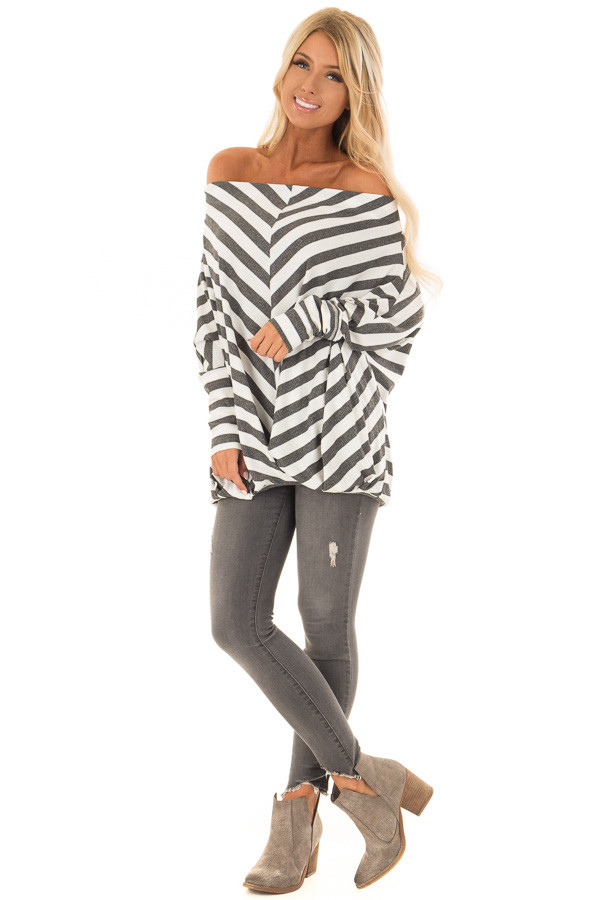 Charcoal and White Striped Ribbed Off the Shoulder Top front full body