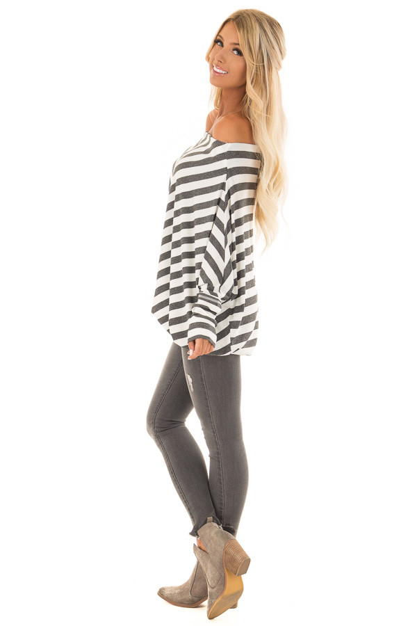 Charcoal and White Striped Ribbed Off the Shoulder Top side full body