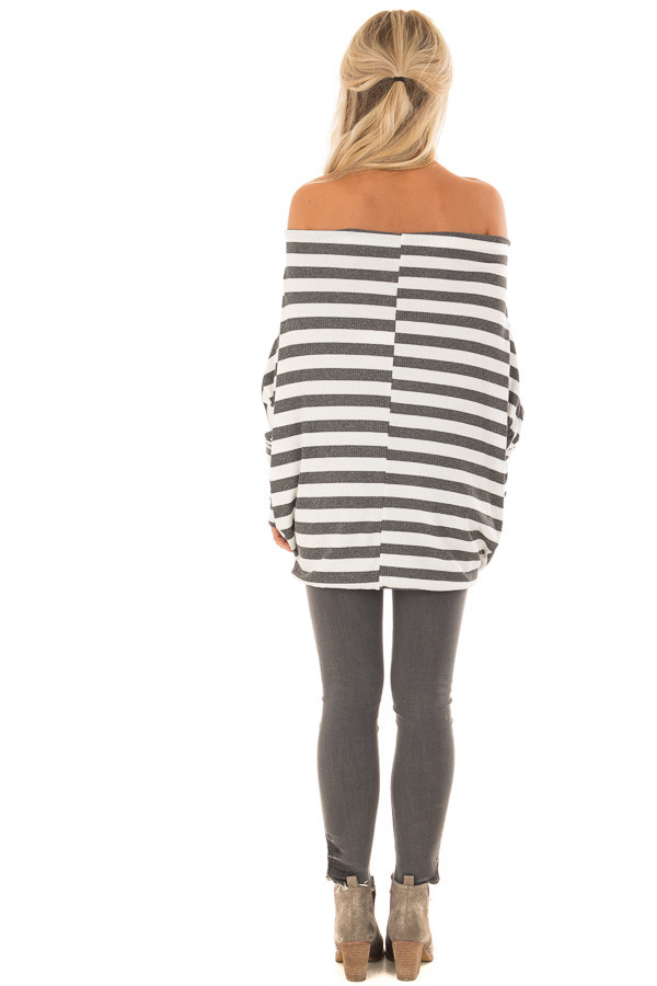 Charcoal and White Striped Ribbed Off the Shoulder Top back full body